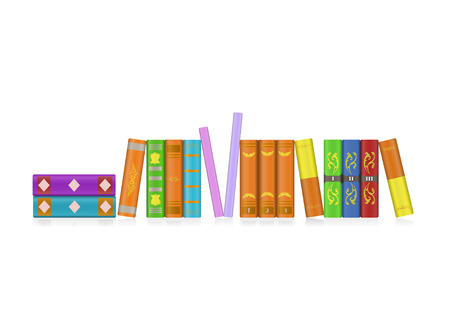 Row of colorful books, vector illustration Vector