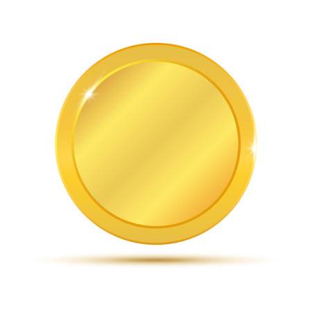 Gold coin. Vector illustration isolated on white background