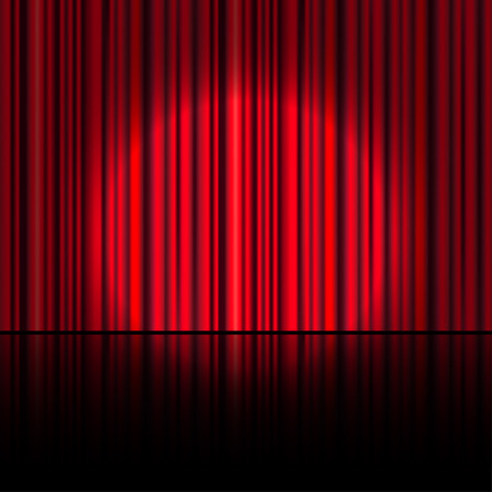 Spotlight on stage curtain. Vector.