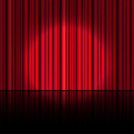 Spotlight op het podium gordijn. Vector. Stock Illustratie