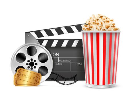 Cinema clapper film reel drink popcorn and tickets. Isolated white background. Vector Illustration