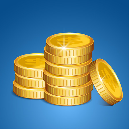 coins stack: Stack of coins - vector money