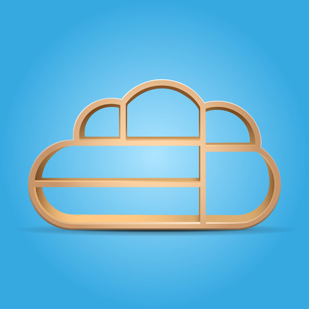 wooden shelf: books on wooden shelf cloud shape vector illustration