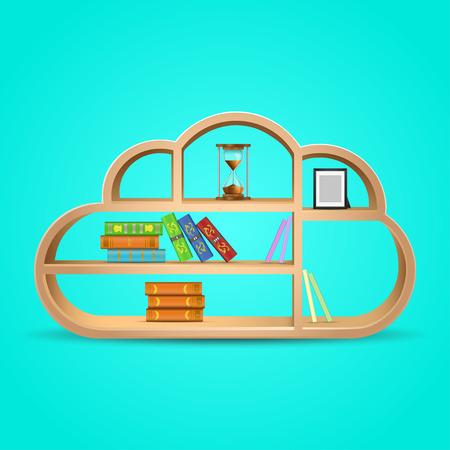 �tag�re bois: livres sur bois �tag�re nuage vecteur de forme illustration