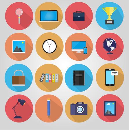 articulos de oficina: Cartel estilo retro con artículos de oficina diversos. Vectores