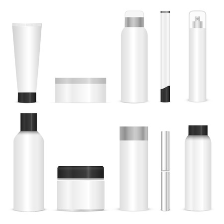 pearly: Blank cosmetic tubes on white background. White and silver colors. Place for your text. Vector