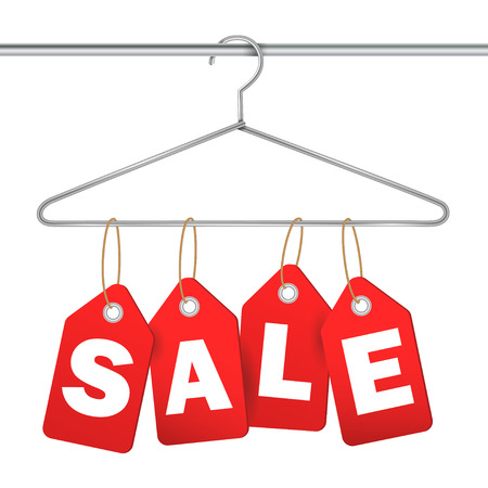 gifttag: coat hanger and sale tag on white background