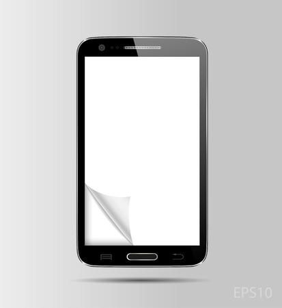 Vector illustration of black modern realistic smartphone with empty white screen. Eps10. Vector
