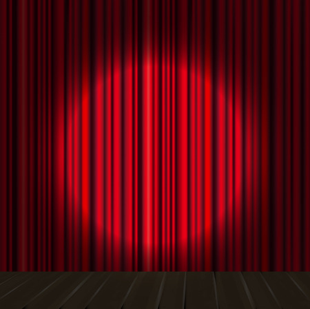 stage curtain: Spotlight on stage curtain. Vector.