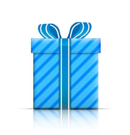 donative: Gift box with ribbon and bow. Vector illustration