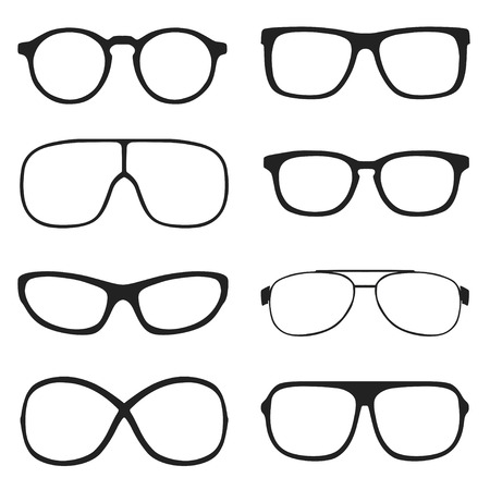 spectacle frame: Set of classic vector glasses, isolated on white background Illustration