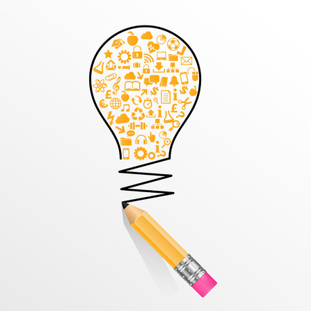contain: creative splash pencil and bulb with school icons set illustration. concept learning. the study of science. his work -  vector file, contain transparent elements and mesh gradients