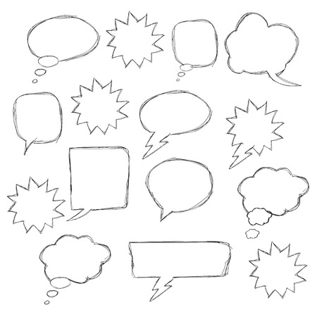 highlights: Set of hand drawn text correction elements. Arrows pointing in different directions. Underlines, highlights objects and speech bubbles. Red signs isolated on white background. Illustration