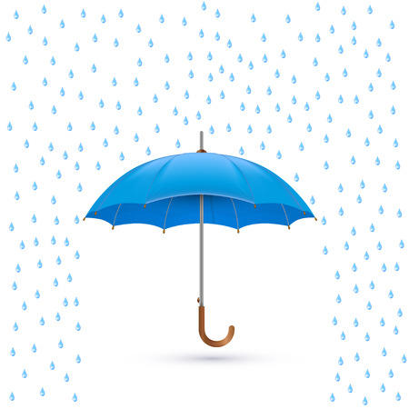dark sky: Vector illustration of cool single weather icon - elegant opened umbrella with heavy fall rain in the dark sky
