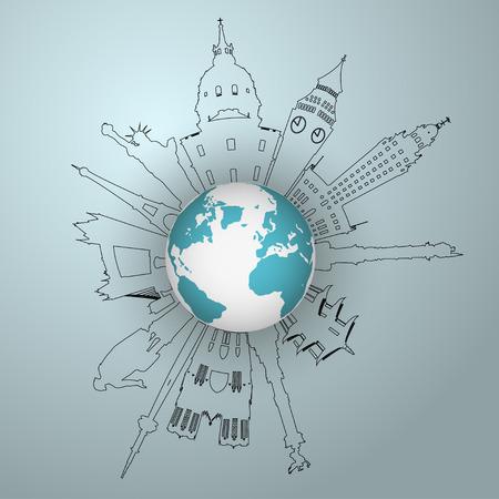 international students: Vector World famous landmark collection