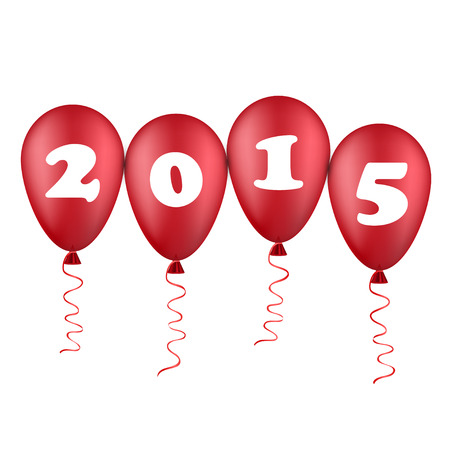 turn of the year: new year illustration with red balloons
