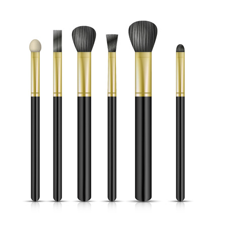 make up applying: Set of make-up brushes on white background. Vector illustration