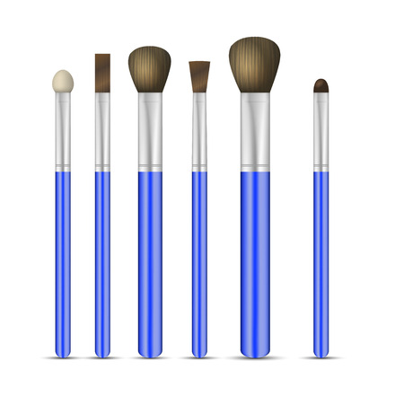 make up: Set of make-up brushes on white background. Vector illustration