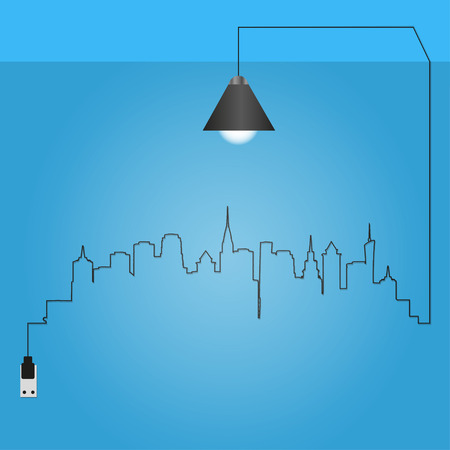midtown: Cityscape with creative wire light bulb idea concept, Illustration