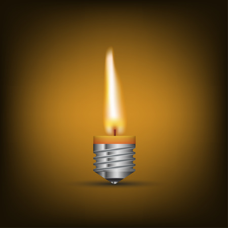 lighting bulb: Creative Thinking With Brainstorming, wax candle into lighting bulb. vector