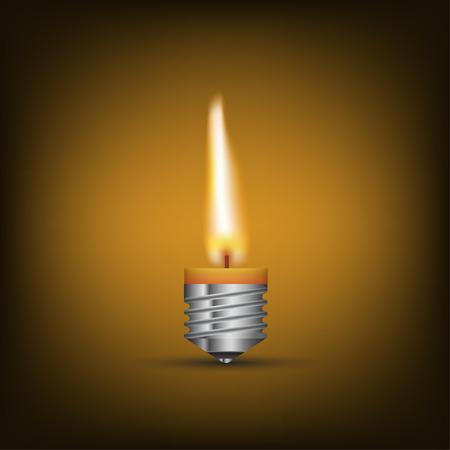 Pensiero creativo con Brainstorming, cera in lampadina. vettore