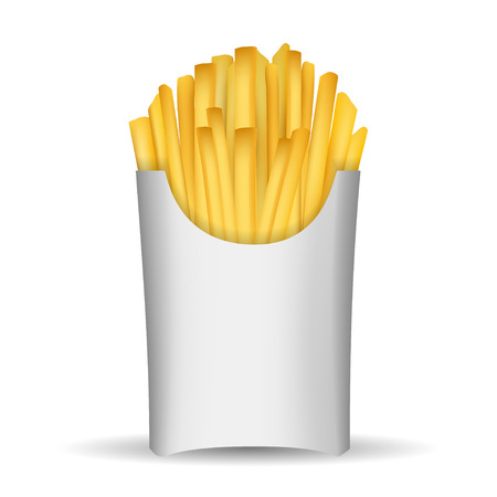 in french: Fast junk food french fries in paper pack isolated on white background vector illustration.