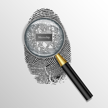 microelectronics: fingerprint, vector, scan, thumbprint, symbol, icon, crime, human, biometric, personality, print, natural, ego, coding, mark, white, criminality, labyrinth, id, privacy, concept, central, unique, fingermark, graphic, element, people, signature, black, sec Illustration
