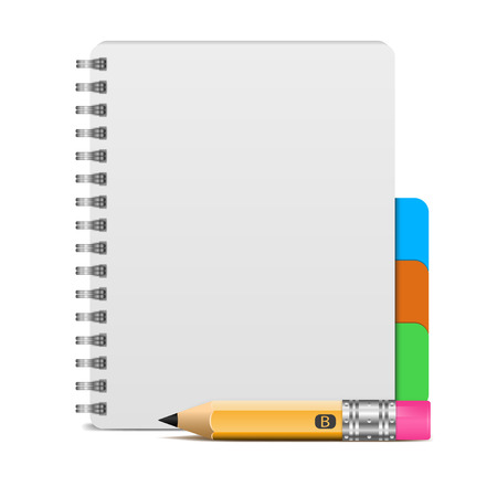 spiral notebook: Vector illustration of realistic spiral notebook and detailed pencil