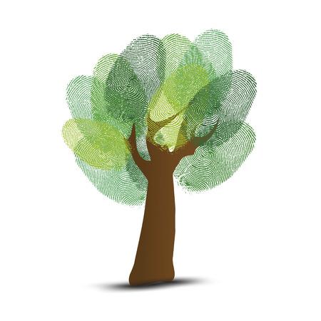 finger prints: Ir verde �rbol identidad huellas digitales ilustraci�n. Vectores