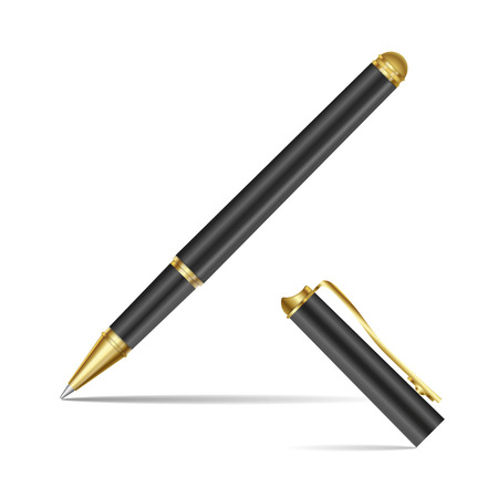 rollerball: Black pen isolated on the white background. Vector illustration Illustration