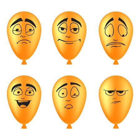 Set of balloons smileys Vector