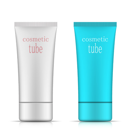 Cosmetic packaging, oval plastic tube template for your design. Vector. Vector