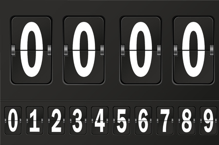 clicker: Table flap clock and number counter template plus all numbers with flips. Highly editable EPS10.