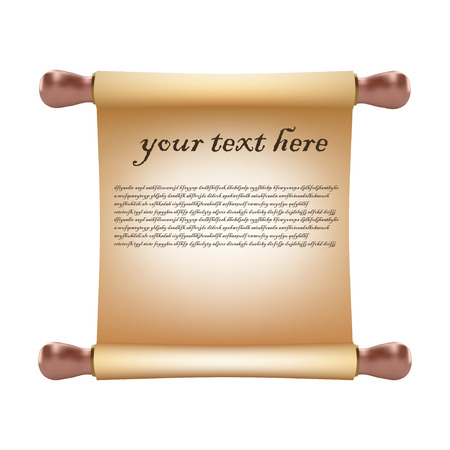 pentateuch: Old vintage scroll isolated on white