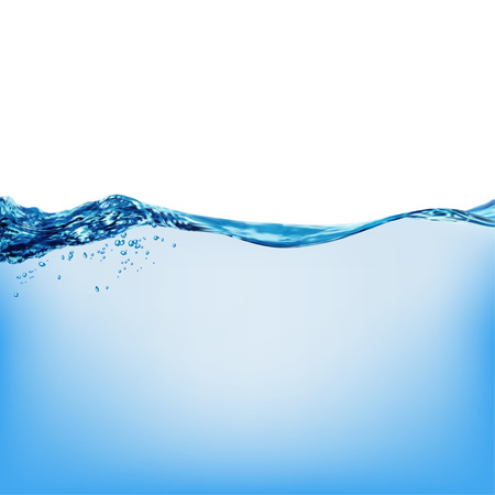 water: Onda de agua de superficie transparente con burbujas, ilustraci�n vectorial Vectores