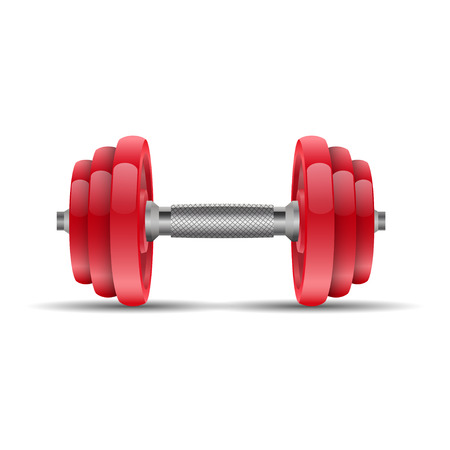 cast iron: Illustration of a red dumbbell on a white background Illustration