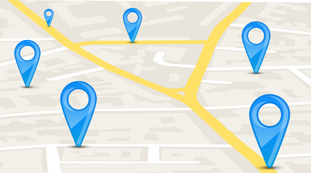 map pin: Map with blue pin pointers
