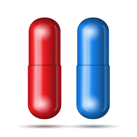 blue pills: Blue and red pills. Vector illustration