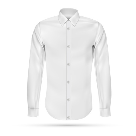 white dress: Vector illustration of dress shirt (button-down). Front view