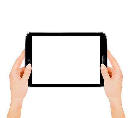 mobil phone: Hands holding digital tablet computer. Vector illustration