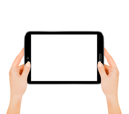 Hands holding digital tablet computer. Vector illustration
