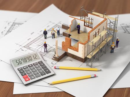 calculadora: Casa con interior abierto en la parte superior de planos, documentos y c�lculos hipotecarios y builbers. Concepto de construcci�n.