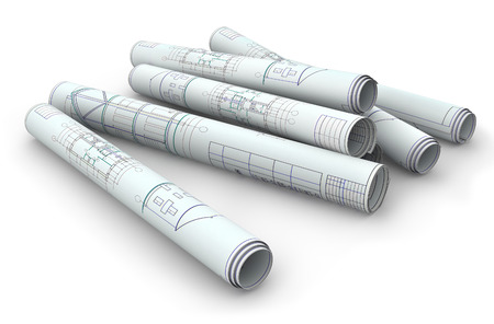 Scrolls of engineering drawings. Isolated render on a white background photo