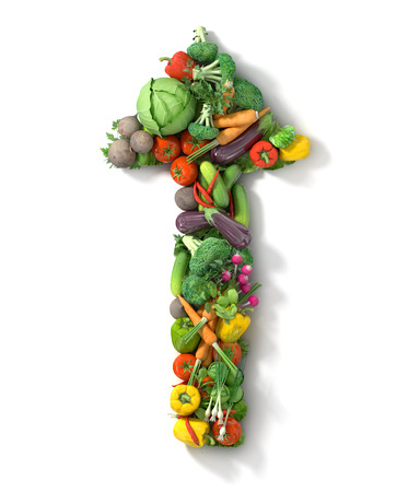 Vegetables arrow. Healthy food concept.