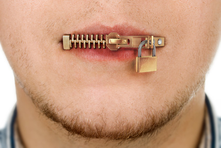 mouth: man with zipped mouth
