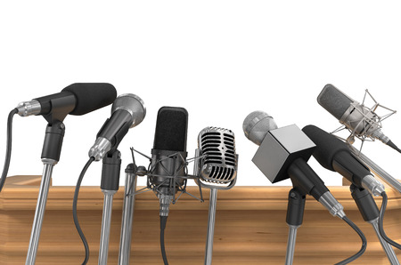 Press Media Conference Microphones. Stock Photo - 37721592