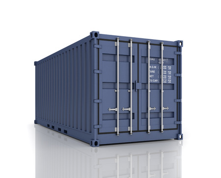 shipped: Rendering of a shipping container.