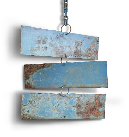 ironworks: Tree iron plate hang on chains.