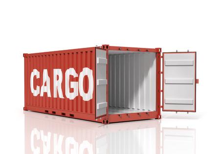 shipped: Open shipping container. Cargo.