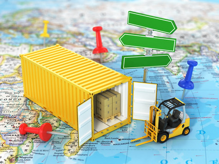 forklift: Open container with road sign and forklift stacker loader holding cardboard boxes on the world map. Transportation concept.
